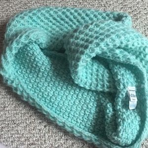 Crocheted infinity scarf- mint teal color